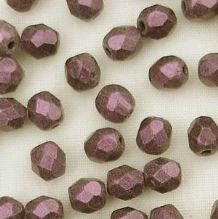 4mm Fire Polished, Metallic Pink Suede - 50